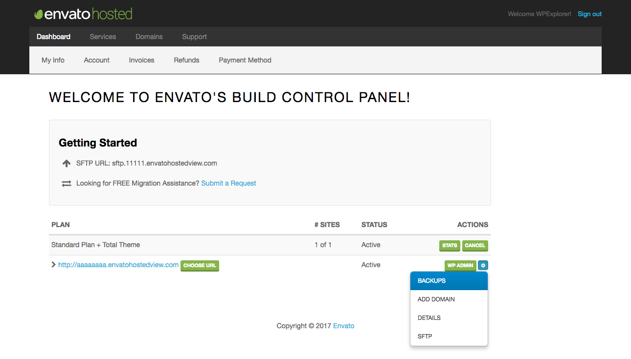 Envato Hosted Control Panel Links