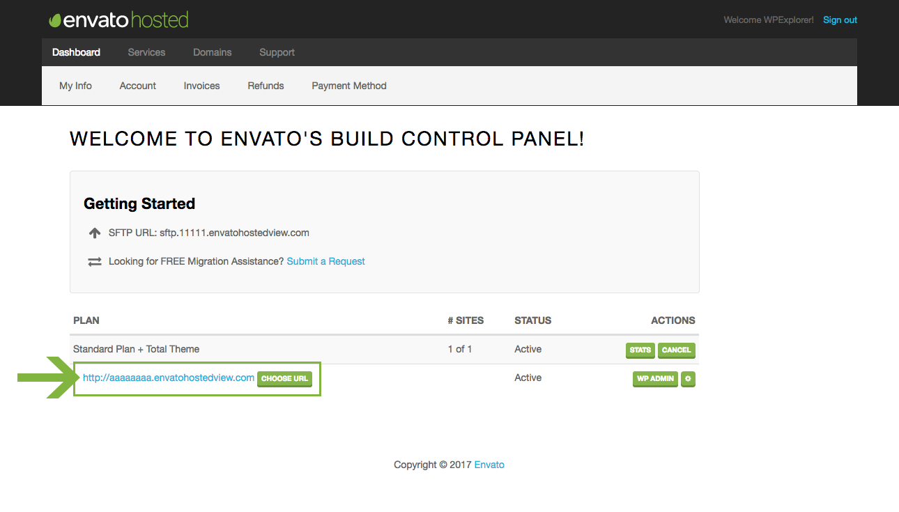 Envato Hosted WordPress Dashboard Link