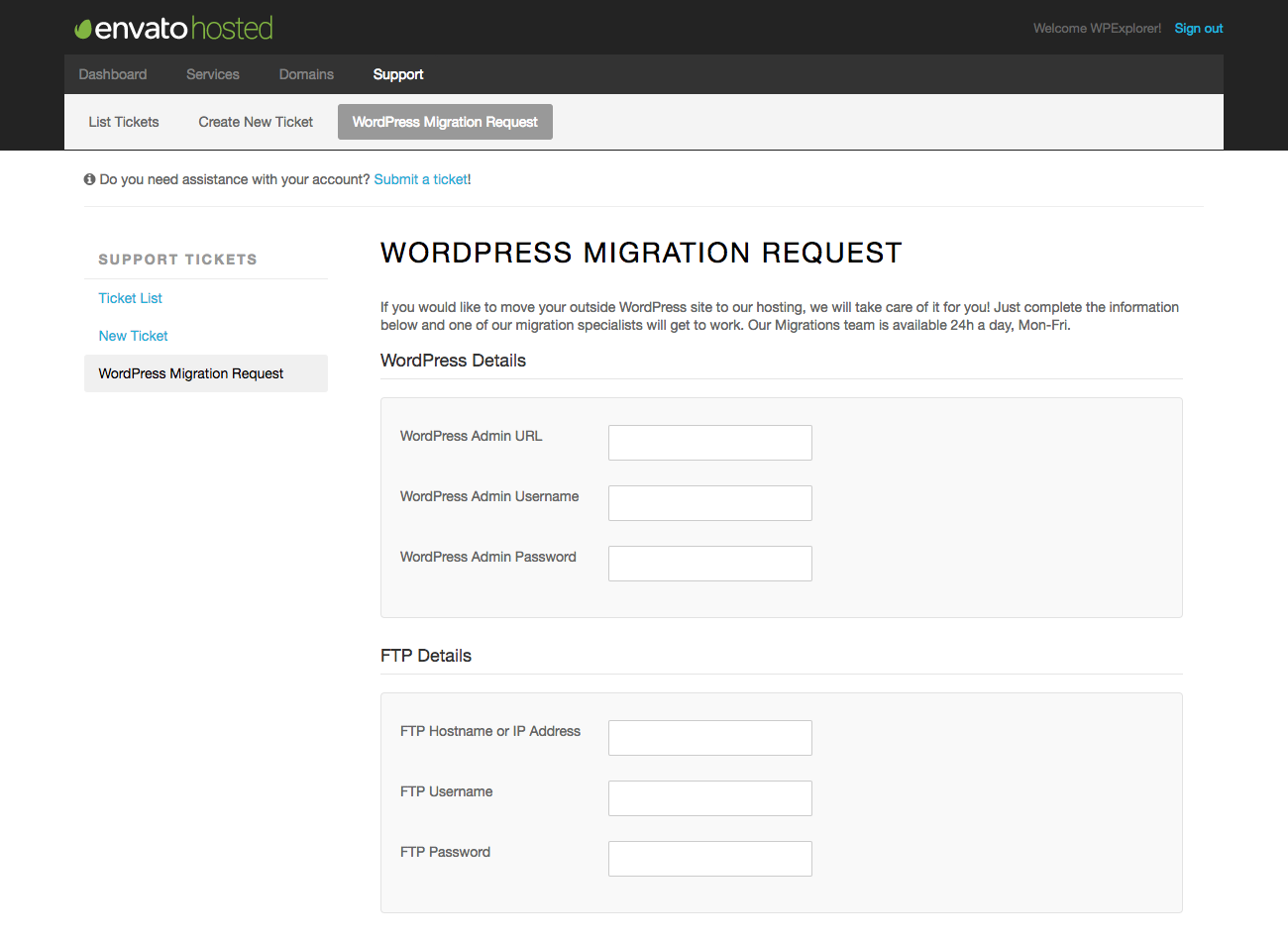 Envato Hosted Migration Request