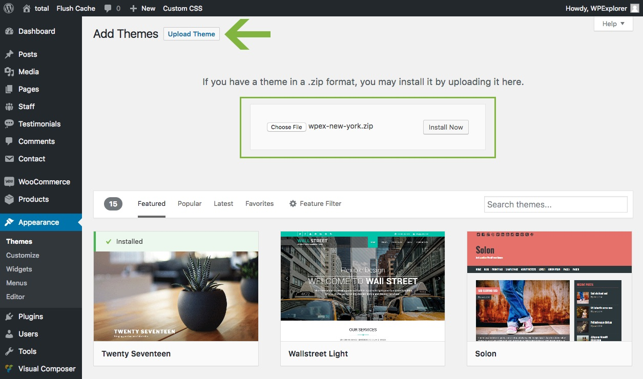 Envato Hosted Upload A New Theme