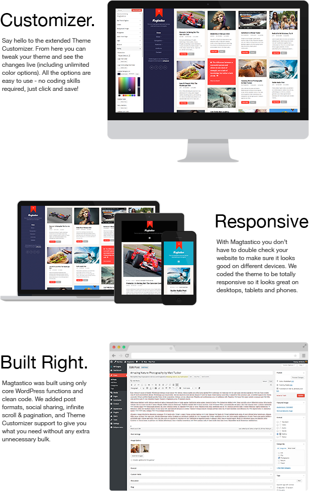 WordPress theme Magtastico Responsive Masonry Blog WordPress Theme (Personal)