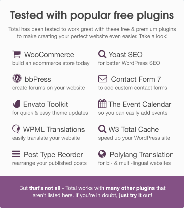 Total WordPress Theme Free Plugins Compatibility
